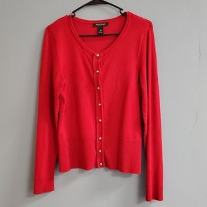 White House Black Market Red Cardigan Sweater